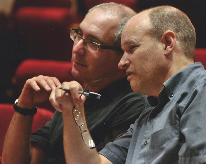 Librettist Harley Erdman and composer Eric Sawyer at   rehearsal of the opera. (photo credit Amherst Gazette)